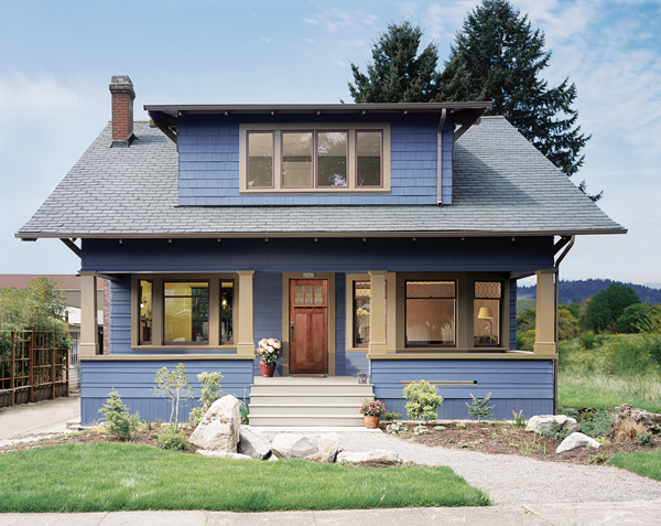 image of a blue bungalow
