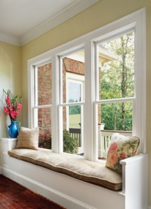 Interior shot of 3 Willmar single-hung E3500 vinyl windows
