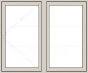 Technical diagram of a window with dotted-line measurements