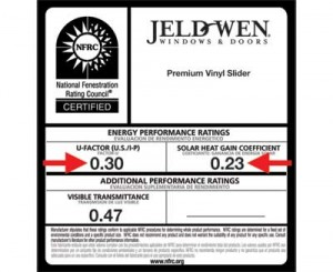 Label showing National Fenestration Rating information, including U-factor solar heat gain coefficient and visible transmittance.