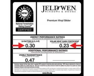Étiquette affichant la classification de rendement énergétique du Conseil canadien des normes (CCN) pour les produits de fenêtrage concernant le coefficient de l'apport par rayonnement solaire et la transmission de la lumière visible.