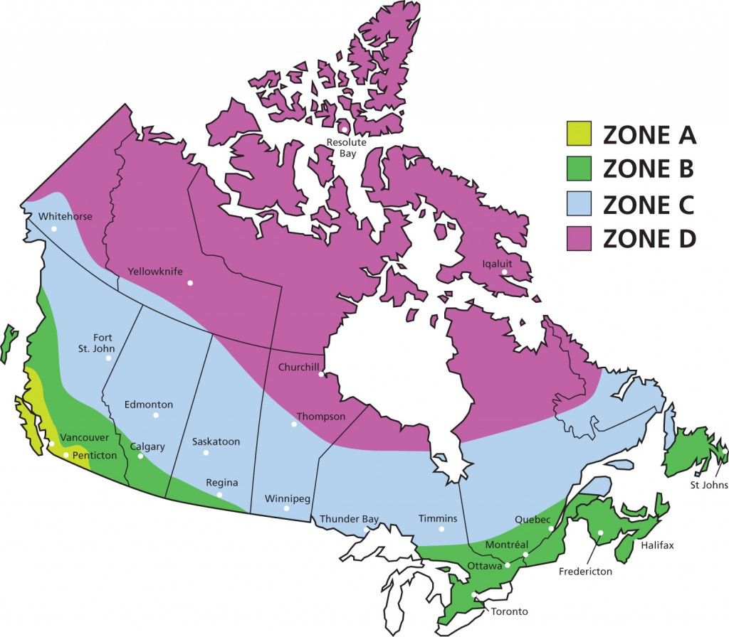 An ENERGY STAR® map of Canada showing four different climate zones by colour.