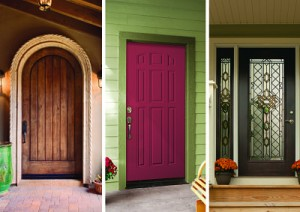 Side-by-side images of wood, fiberglass and steel entry doors.