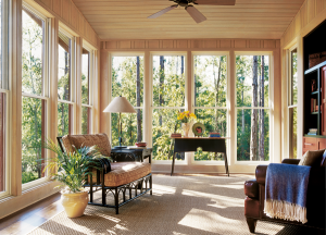Image of a sunny living space with energy-efficient windows.