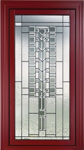 A craftsman glass style insert for entry doors.