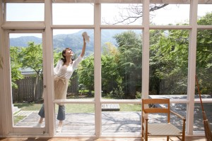 Woman washes her windows outside on a sunny day.
