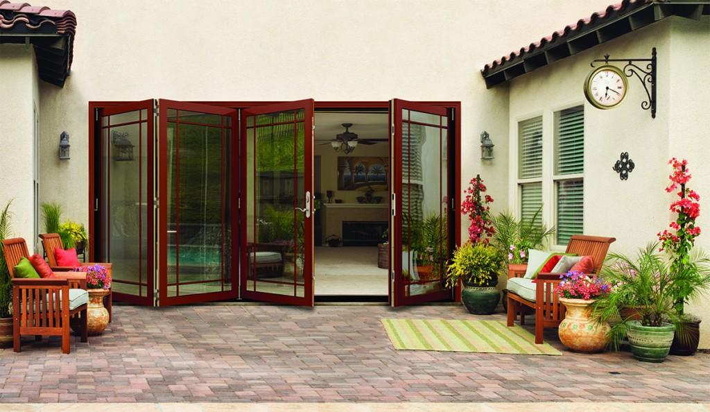 A backyard folding mesa red patio door