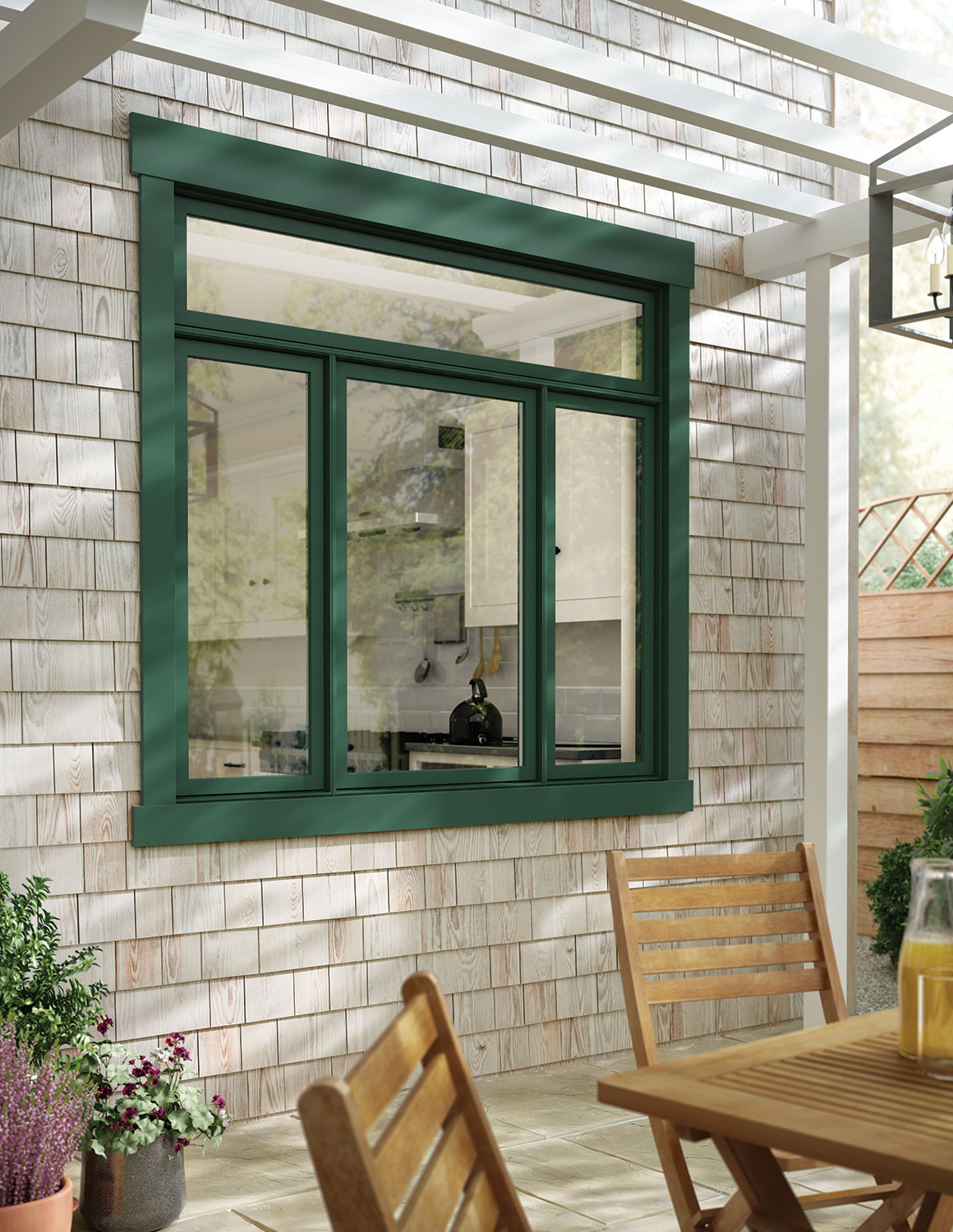 1500 #906F3B Green Exterior Cladded Siteline Kitchen Window image Aluminum Clad Patio Doors 47231160