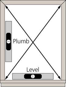 Line art of a window showing the meaning of plumb and level.