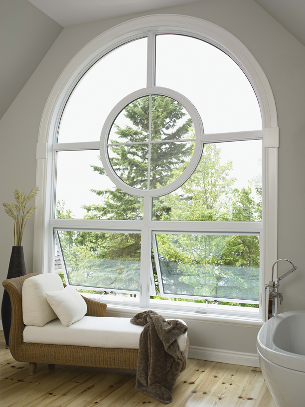 A white vinyl awning window.