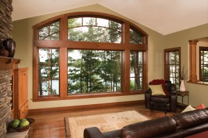 A combination of picture and casement style wood windows.