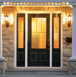 Create A Front Entrance That Radiates Warmth. This Vinyl Clad Frame And  Steel Entry Door Features Two Sidelites With Sandblasted Textured Glass And  ...