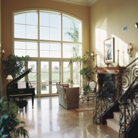 Custom Wood Collection swinging patio doors and mulled fixed windows and transoms
