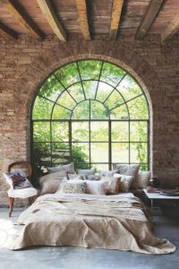 Arched window in bedroom