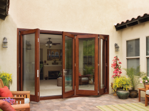 Outside view of folding patio doors