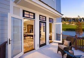 Outside view of swinging patio doors