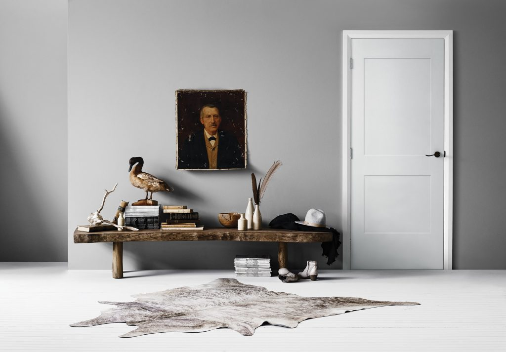 A white intrerior door in a room with gray walls and a bearskin rug