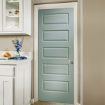 A light blue interior door with five horizontal rectangles on it, in a bathroom